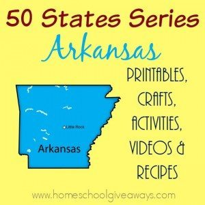 Making our way through the 50 States, we are looking at Arkansas. Check out these printables, crafts, recipes and MORE to make your unit FUN! :: www.homeschoolgiveaways.com