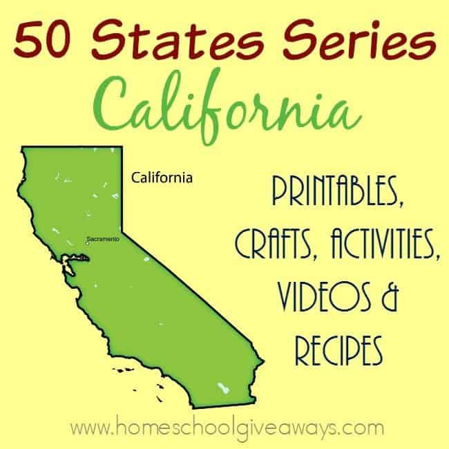Our most populous state in the United States is California. These printables, crafts, recipes and more make learning about it so exciting and fun! From the Gold Rush to the Redwood Forest, there is something for everyone! :: www.homeschoolgiveaways.com