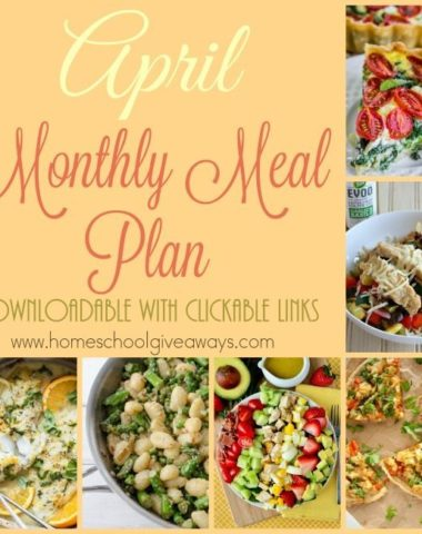 April is just around the corner and that means a new menu plan is in order. I have gathered some delicious new meals in a variety of Spring-like flavors! Head over to download yours now! :: www.homeschoolgiveaways.com