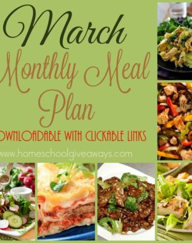 Are you ready for Spring? Don't want to stress over dinner while you spend time outside? Grab the March Meal Plan! Its downloadable and has clickable links to recipes! :: www.homeschoolgiveaways.com