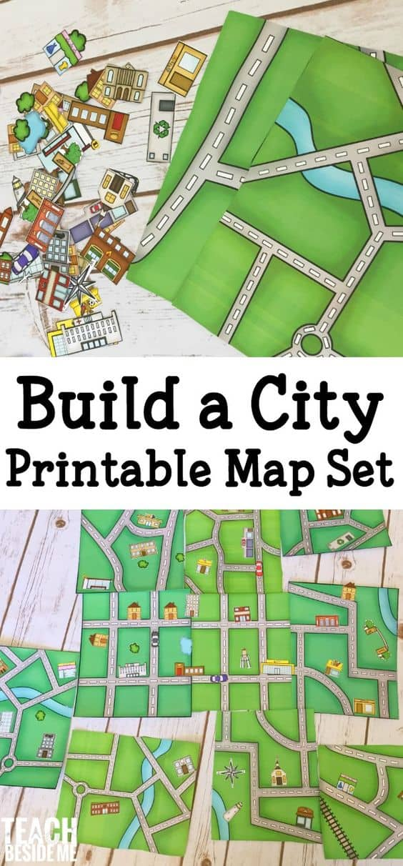 Free printable build a city map set Free house maps
