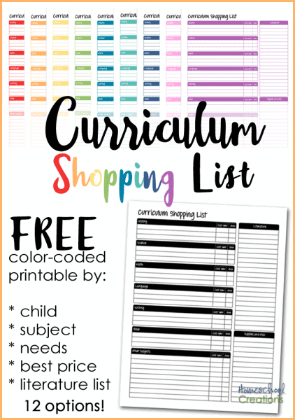 curriculumshoppinglist