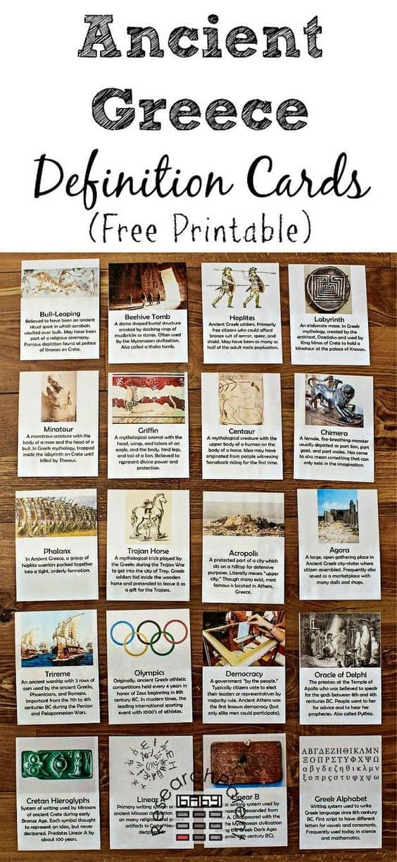 FREE Printable Ancient Greece Definition Cards ...