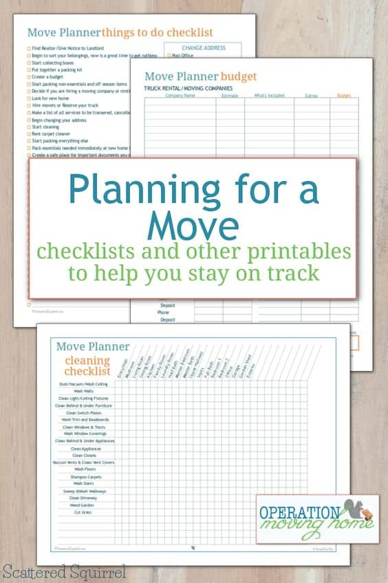Planning For A Move Free Checklists And Other Printables