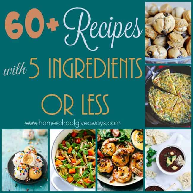 Sometimes you want something simple and sometimes you find yourself short on groceries from the pantry. These recipes have just 5 Ingredients or LESS and can be made in a snap! :: www.homeschoolgiveaways.com