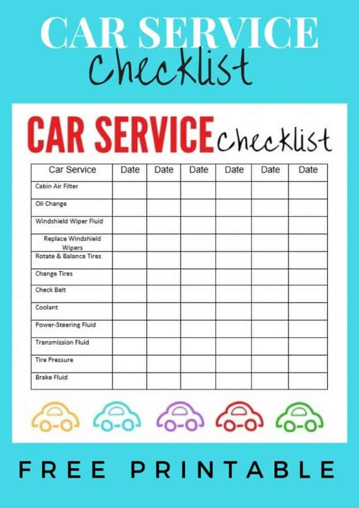 Car Maintenance Checklist >> Car Service Checklist Printable
