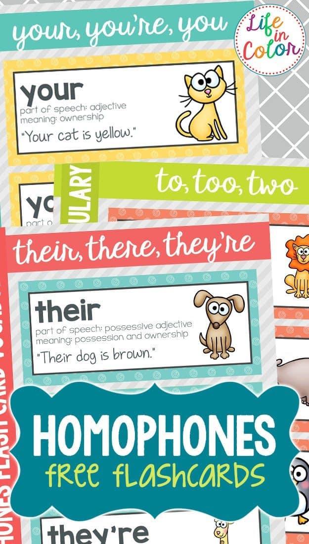 free printable homophone flashcards