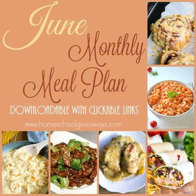 Make summer fun and meals easier with this June Meal Plan. Includes grilled recipes, breakfast ideas, slow cooker recipes & more! :: www.homeschoolgiveaways.com