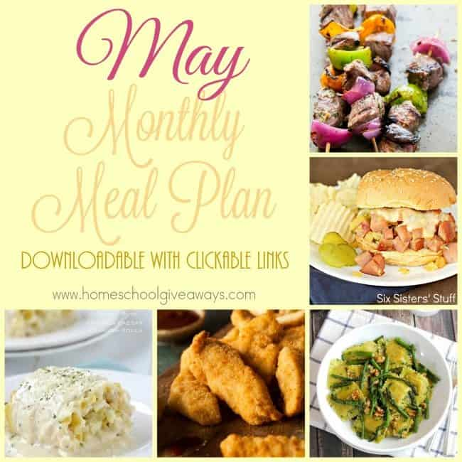 May is the time for warmer weather and outdoor barbecues. Check out this month's meal plan to help you stay outside longer, without compromising on taste! :: www.homeschoolgiveaways.com