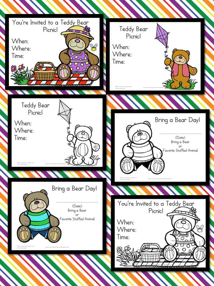 samples of teddy bear picnic invitations