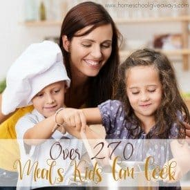 Kids can learn to cook from the time they can hold a spoon. Teach them how with this HUGE list of recipes Kids Can Cook! :: www.homeschoolgiveaways.com