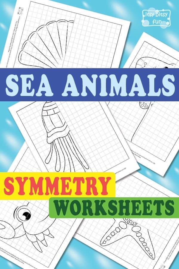 Printable Worksheets symmetry drawing worksheets : Sea Animals Symmetry Drawing Worksheets