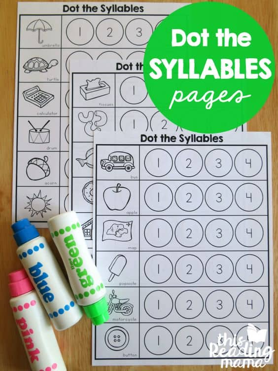 FREE Printable Dot the Syllables Worksheets