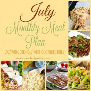 Having quick and easy dinners is so helpful, especially during the busy days of summer. Check out this month's meal plan! :: www.homeschoolgiveaways.com