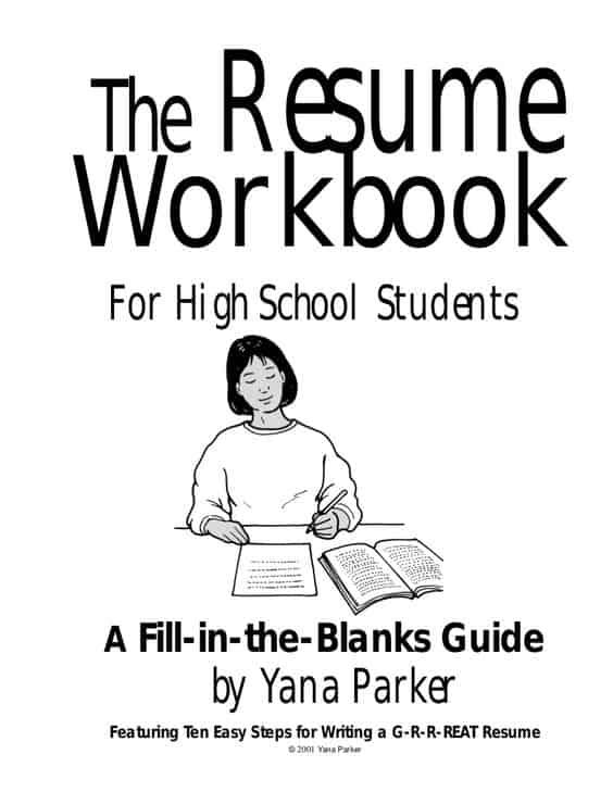 free printable resume workbook for high school students