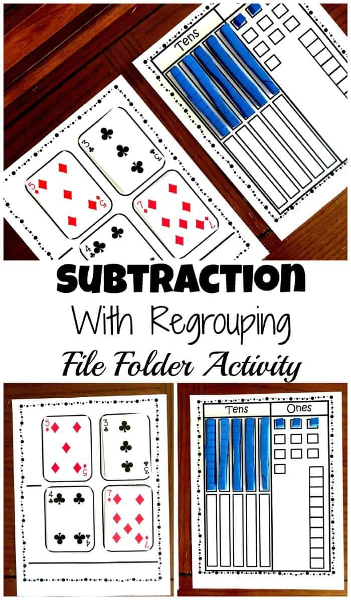 subtractions with regrouping file folder activity and free printable homeschool giveaways. Black Bedroom Furniture Sets. Home Design Ideas