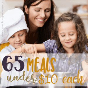 If you're like most families, you live on a budget - sometimes a tight one. Here are 65 meals you can make for the family that cost just $10 or less! :: www.homsechoolgiveaways.com
