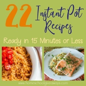 Sometimes life gets crazy and the day gets away from us. Here are some Instant Pot Recipes you can make and serve in just 15 minutes or Less! :: www.homeschoolgiveaways.com