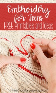 Embroidery for Teens FREE Printables and Ideas