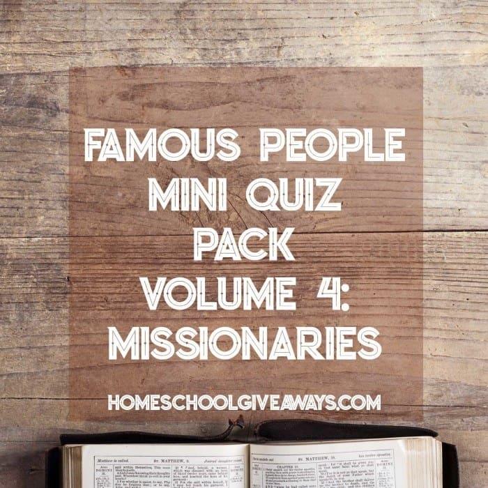 FREE Famous People Mini Quiz Pack Volume 4 – Missionaries
