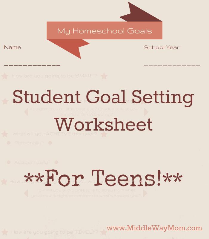 Student Goal Setting Worksheets For Teens
