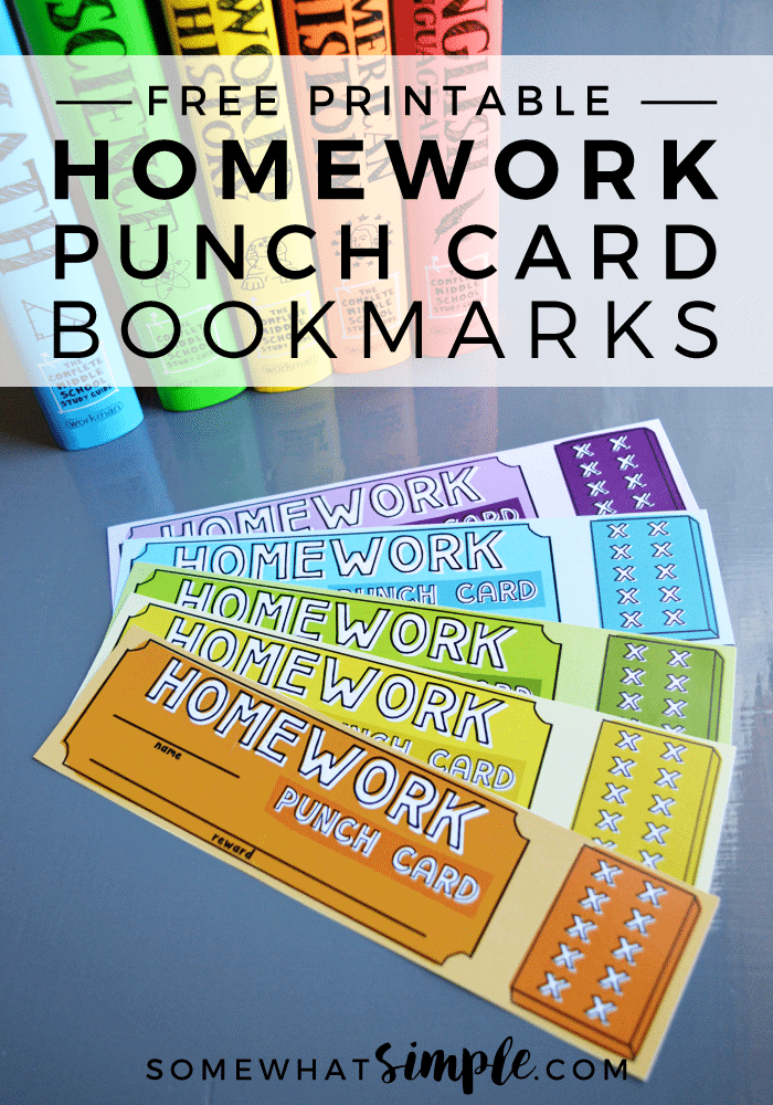 FREE Printable Homework Punch Card Bookmarks
