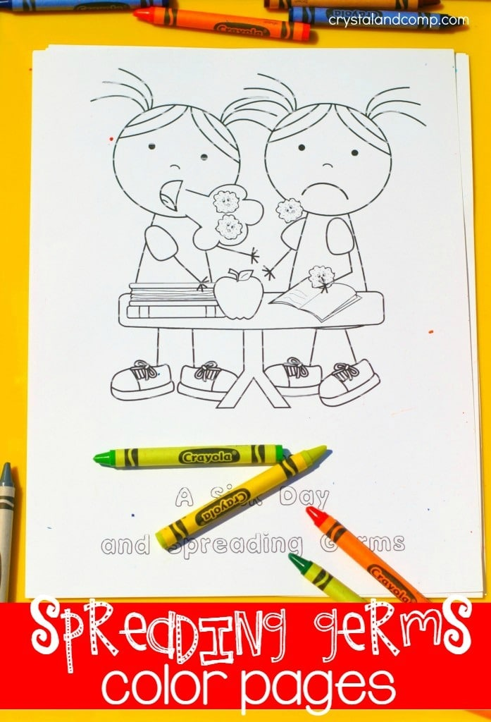 kid color pages sick day and spreading germs - Free Germ Coloring Pages