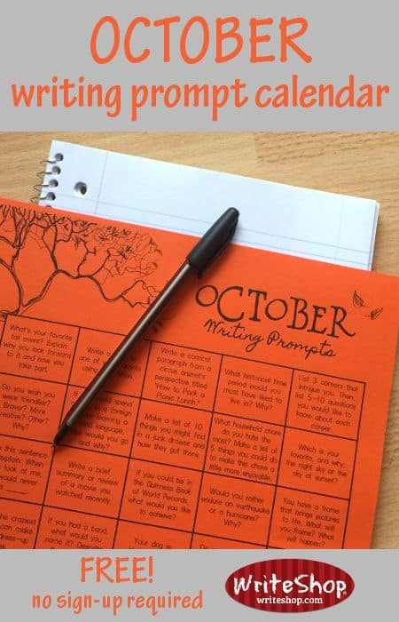 Calendar Math Printables : Free printable october writing prompt calendar