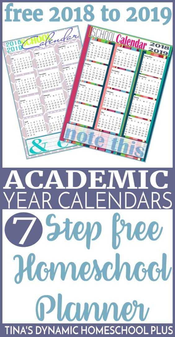 graphic relating to Free Printable Homeschool Planner identify Absolutely free Printable 2018-2019 Calendar + a 7-Stage Absolutely free Homeschool