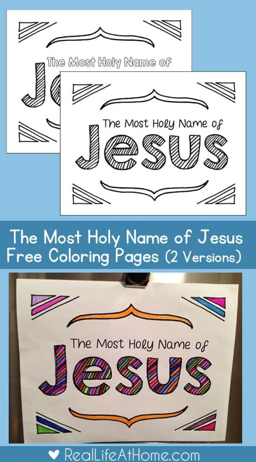 Most Holy Name of Jesus – FREE Coloring Page Set and Printables ...