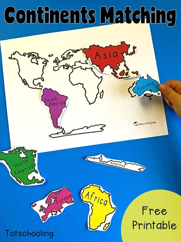 Selective image intended for printable continents
