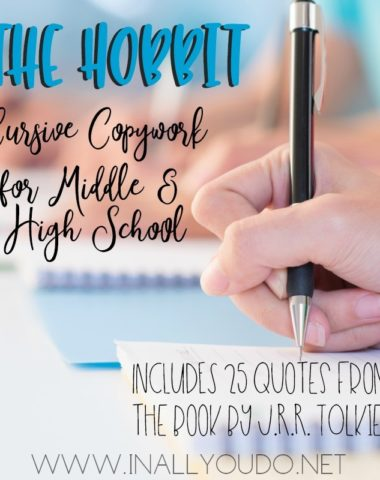 "If you're reading the book this year, use this FREE Cursive Copywork for ""The Hobbit"" with your Middle and High School students. :: www.homeschoolgiveaways.comIf you're reading the book this year, use this FREE Cursive Copywork for ""The Hobbit"" with your Middle and High School students. :: www.homeschoolgiveaways.com"