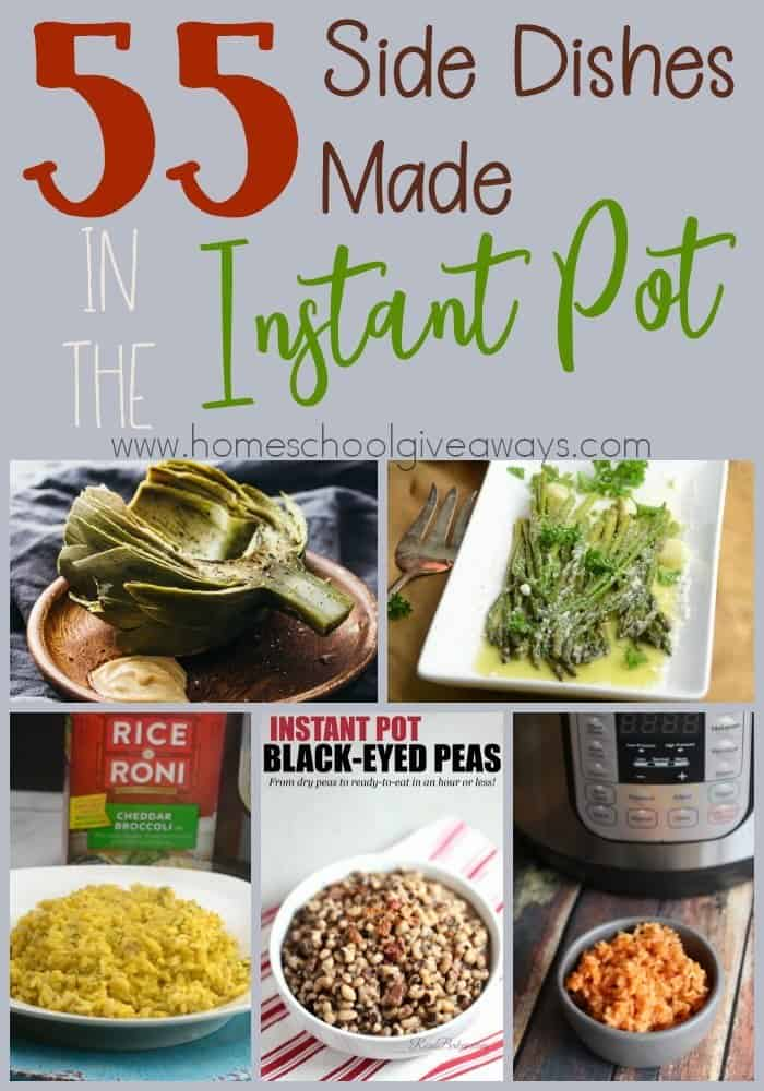 You can make an entire meal in your Instant Pot, including side dishes. Here are some delicious ones to try with your next meal! :: www.homeschoolgiveaways.com