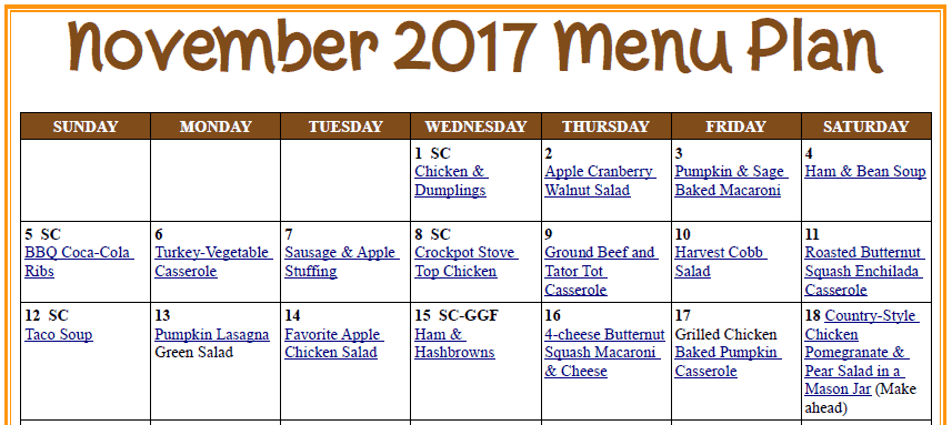 Nov Meal Plan