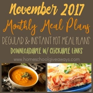 This month we again have TWO more Monthly Meal Plans. One with regular & slow cooker meals and one with only Instant Pot recipes. :: www.homeschoolgiveaways.com