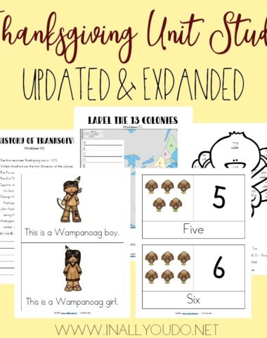 Help kids learn about the History of Thanksgiving with this Thanksgiving Unit Study! It includes Language Arts, Math, Geography, History, Visual Arts and more! Available FREE thru 10.27.17 only!! :: www.homeschoolgiveaways.com