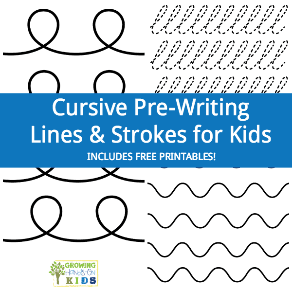 Cursive Prewriting Lines Strokes For Kids Square