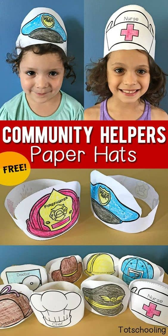 firefighter hat template preschool - free printable community helpers paper hats