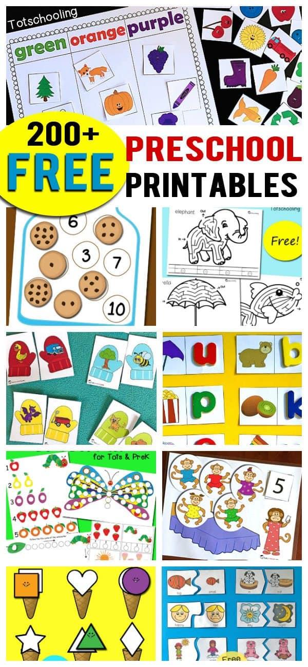 200+ FREE Preschool Printables - Homeschool Giveaways