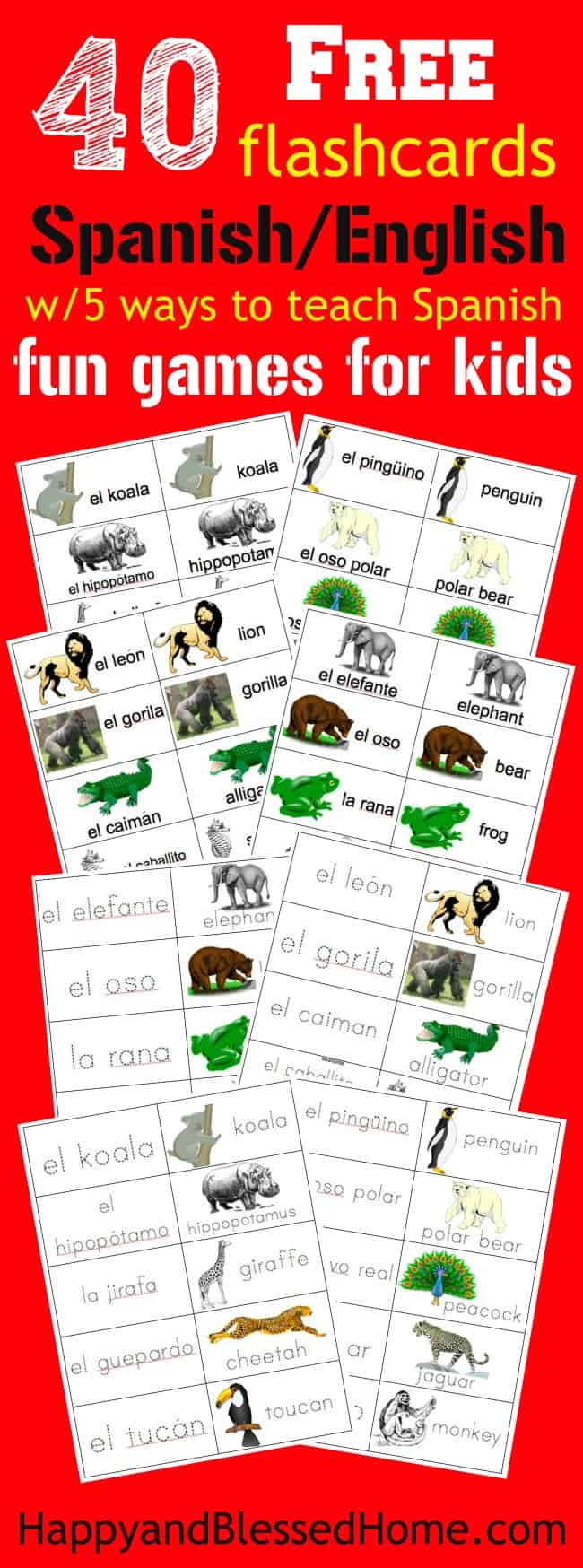 picture regarding Spanish Flashcards Printable named 40 Totally free Printable Spanish-English Jungle Animal Flashcards
