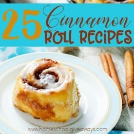 Fall and Winter are the perfect time for Cinnamon Rolls. Check out these delicious recipes with a variety of flavors and icings! :: www.homeschoolgiveaways.com