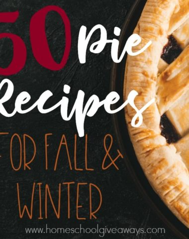 I love baking in the Fall and Winter months. These 50 pie recipes are perfect for Fall and/or Winter! :: www.homeschoolgiveaways.com