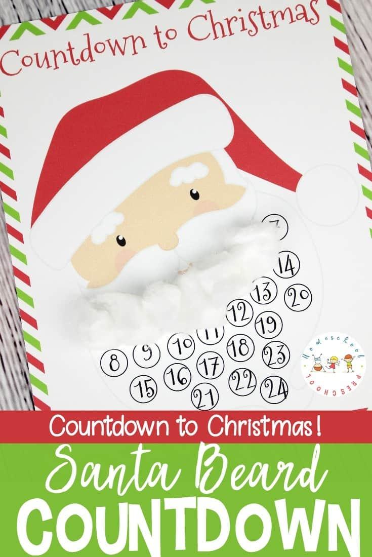 free christmas countdown santa template for kids