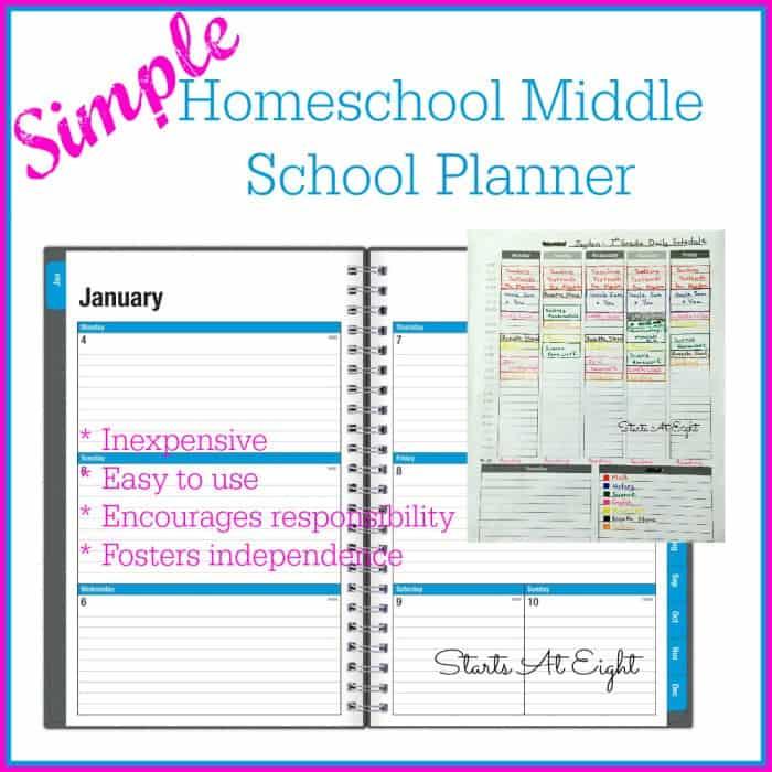 simple homeschool middle school planner