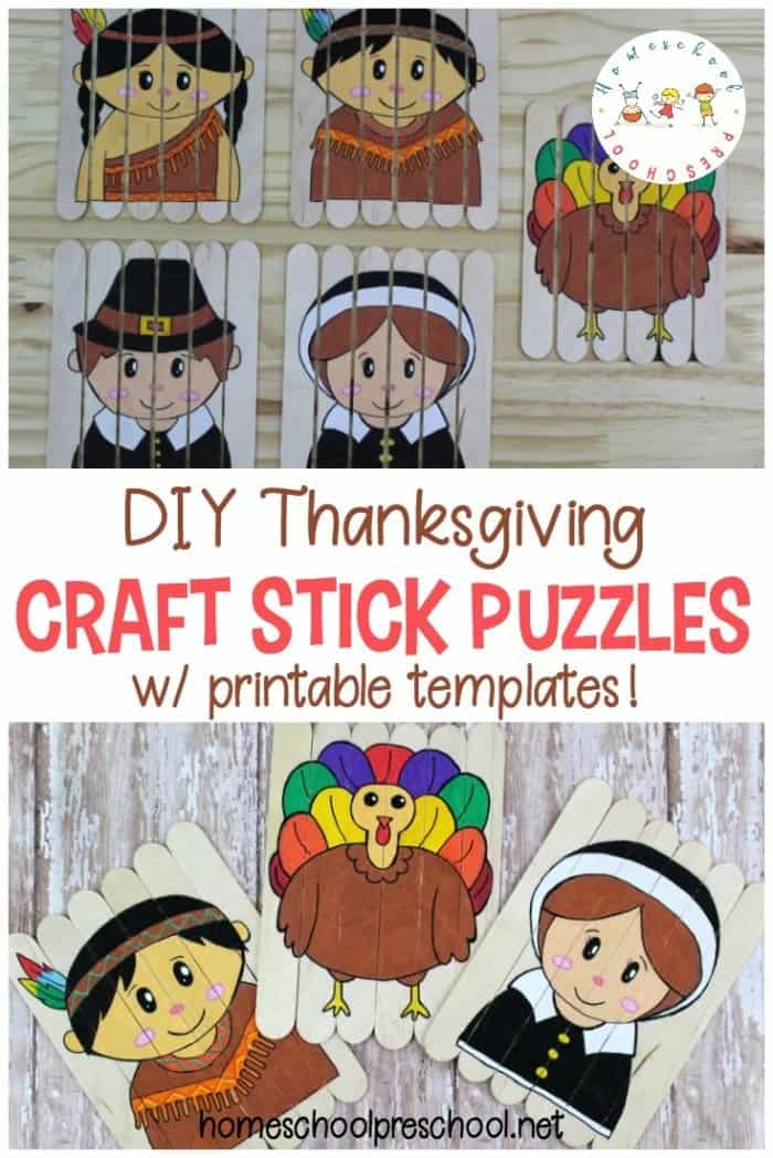 Thanksgiving Craft Stick Puzzles