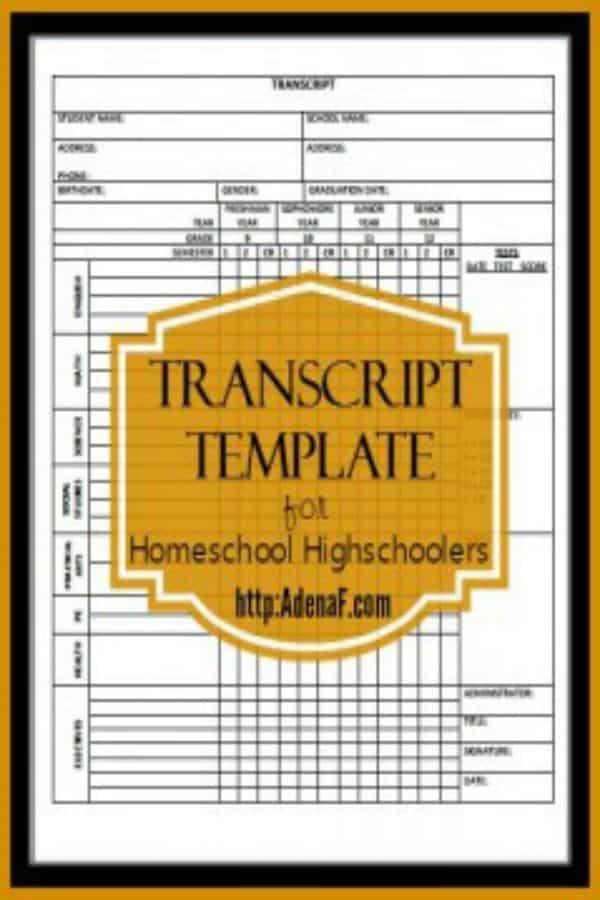 free printable high school homeschool transcript template