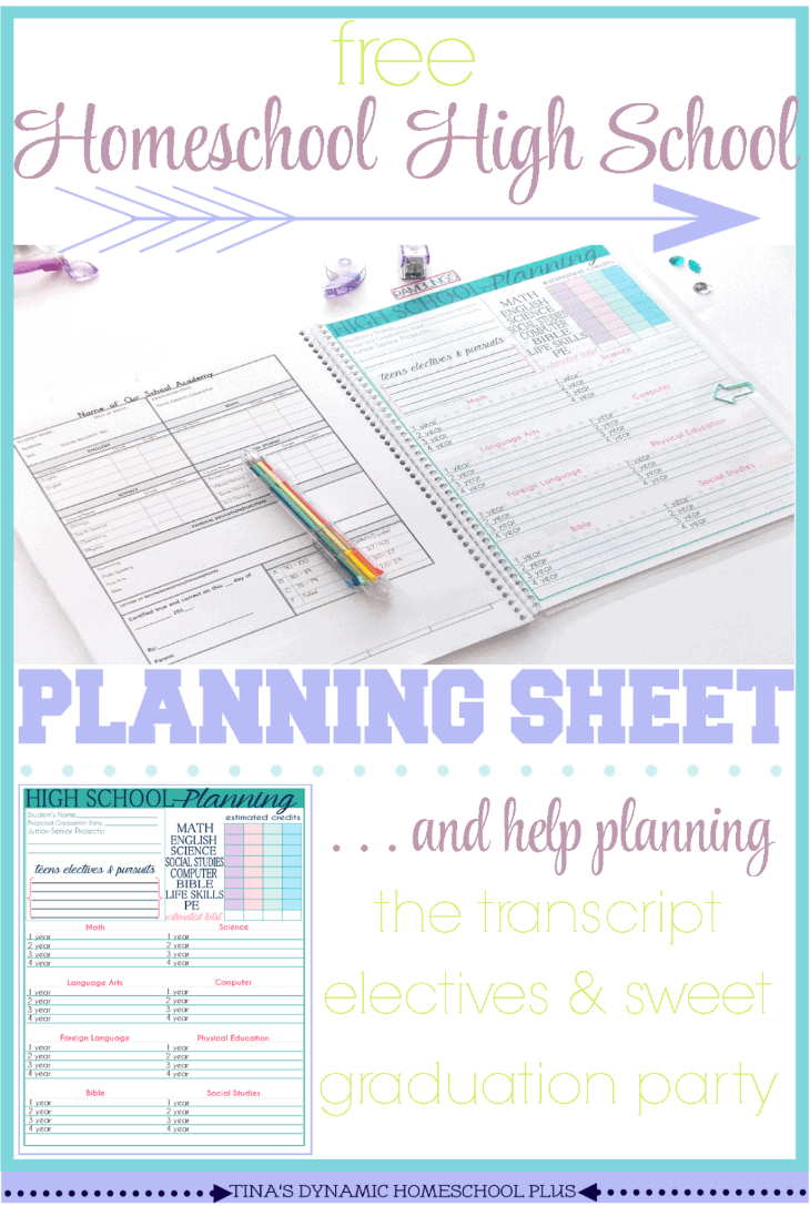 free homeschool high school planning sheet  and some high school help