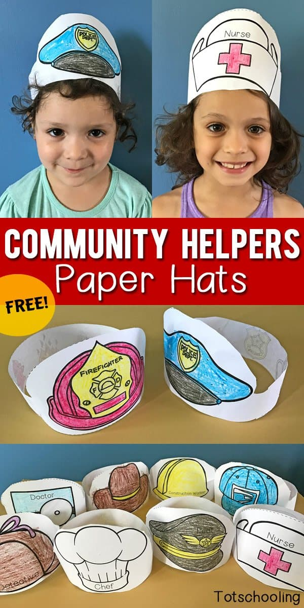Free Community Helpers Printable Paper Hats Homeschool