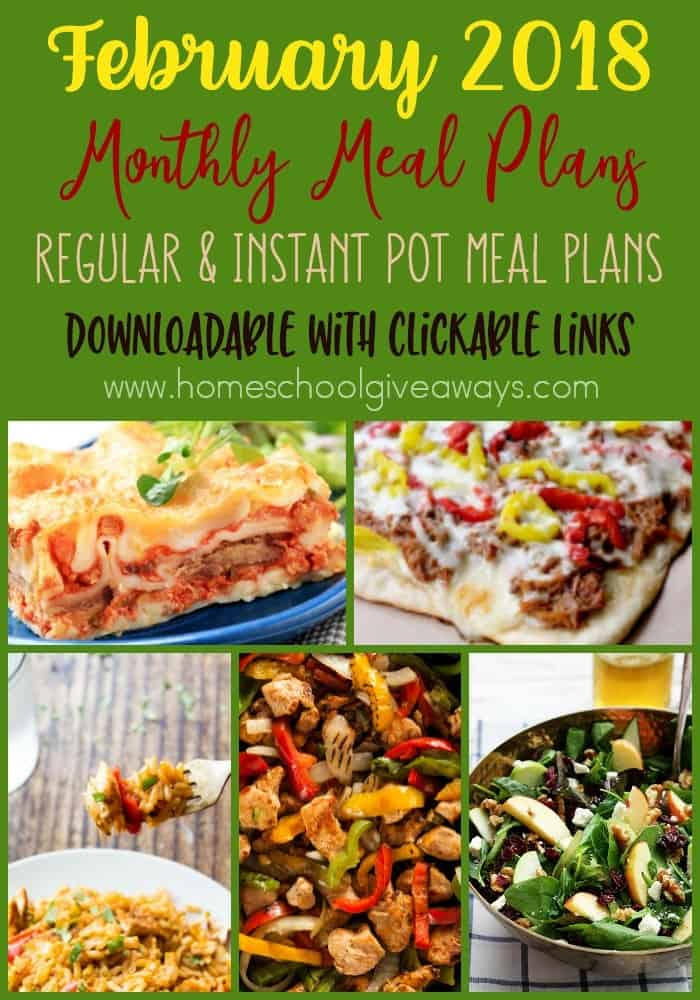 February is here and that means its time for a new meal plan! Grab this month's downloadable & clickable meal plan today! Available in traditional meals and instant pot both! :: www.homeschoolgiveaways.com