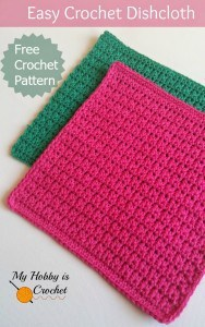 easy crochet dishcloth - free pattern by myhobbyiscrochet